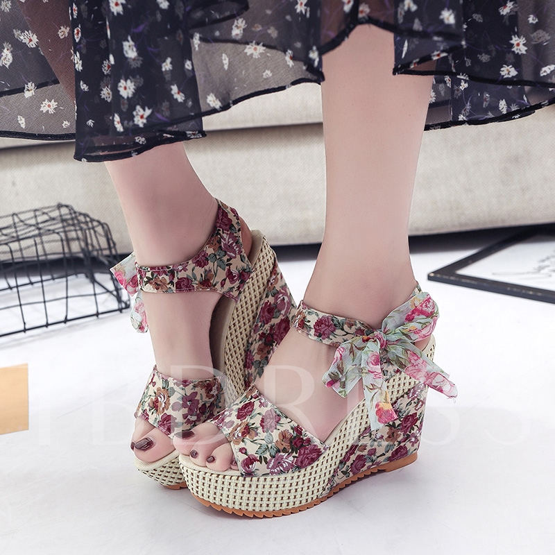Lace Up Wedge Heel Women's Floral Shoes