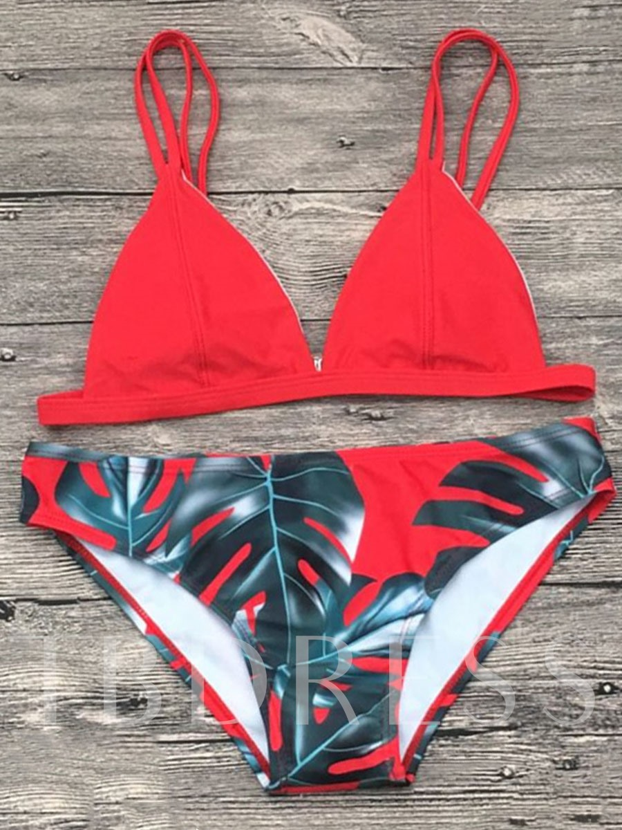 Adjustable Strap Triangle Print Women's Bikini Set