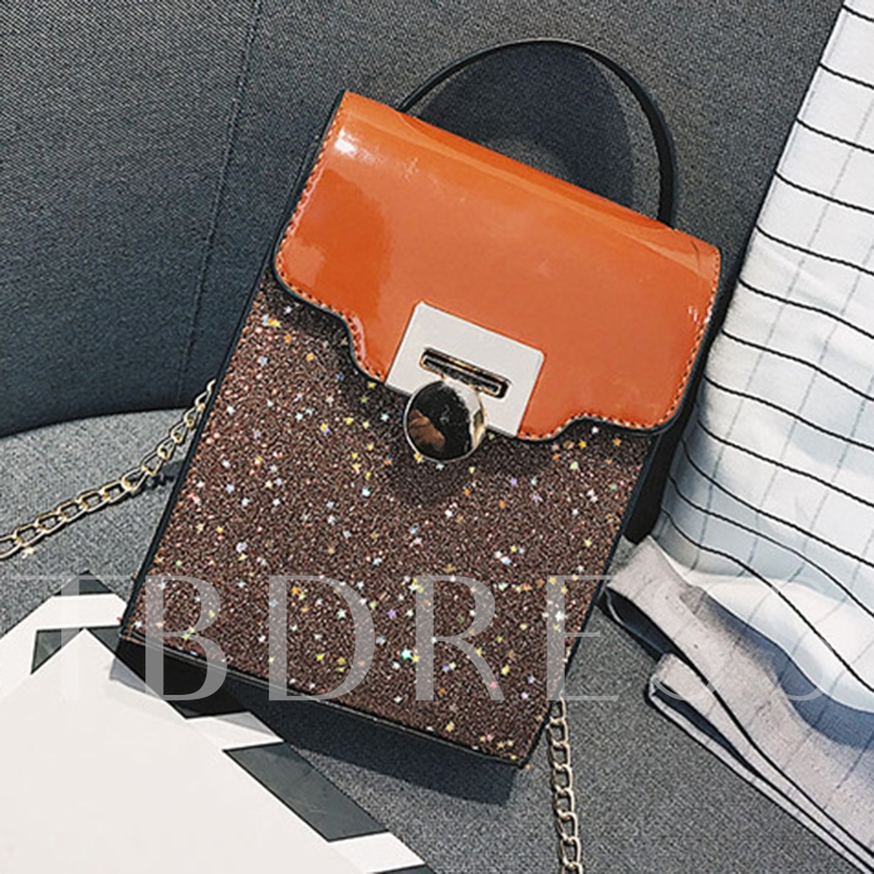 Glossy PU Color Block Crossbody Bag