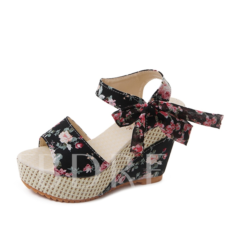 Lace Up Wedge Heel Women's Floral Shoes, Spring,Summer, 13214251