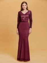 V Neck Long Sleeves Lace Mermaid Evening Dress