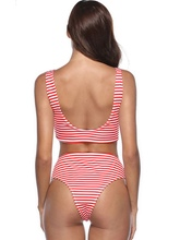 Striped Bowknot High Waisted Bikini Set