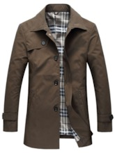 Lapel Solid Color Thin Men's Trench Coat
