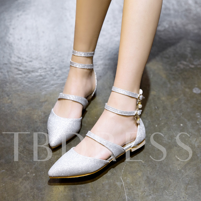 Flat With Glitter Buckle Mary Jane Shoes for Women 13220469