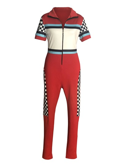 Printed Sporty Skinny Women's Jumpsuit