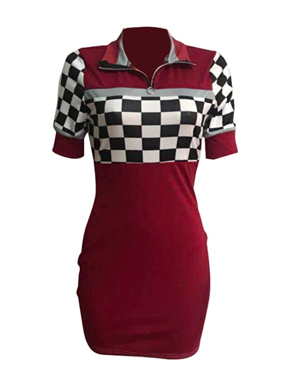 Lapel Plaid Women's Bodycon Dress