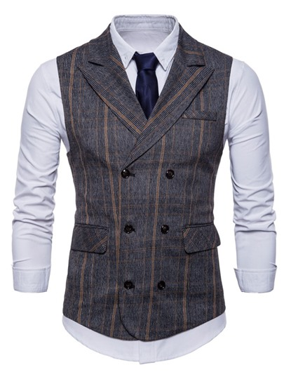Stripe Double-Breasted Slim Men's Vest