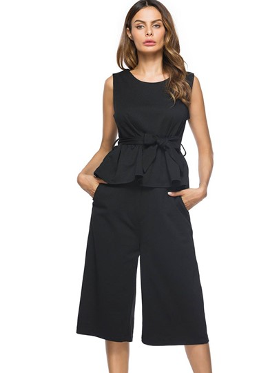 Plain Sleeveless Bowknot Women's Two Piece Outfits