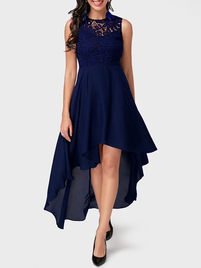 Dark Blue Sleeveless Back Lace Day Dress Dark Blue Sleeveless Back Lace Day Dress