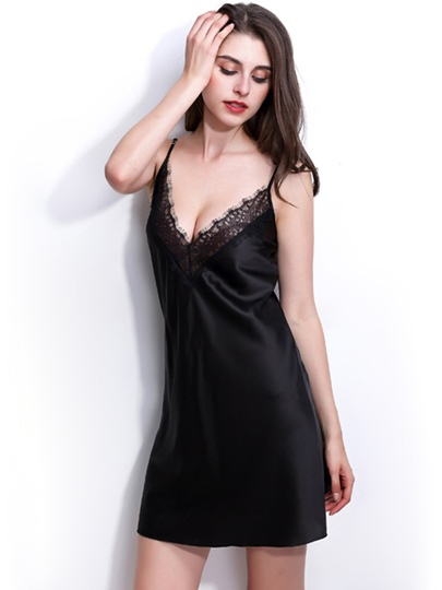 Deep V-Neck Backless Lace-Up Sexy Night Dress Lingerie