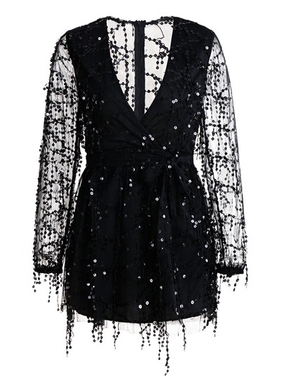 Black Sequins Decorated Women's Day Dress