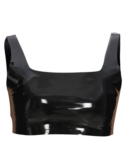Chic Gllliter Faux Leather Women's Crop Top