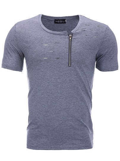 Zipper Hole Cut Plain Men's T-Shirt
