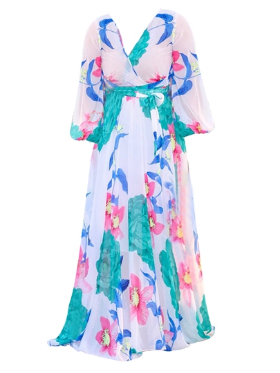 V Neck Chiffon Printing Women's Maxi Dress