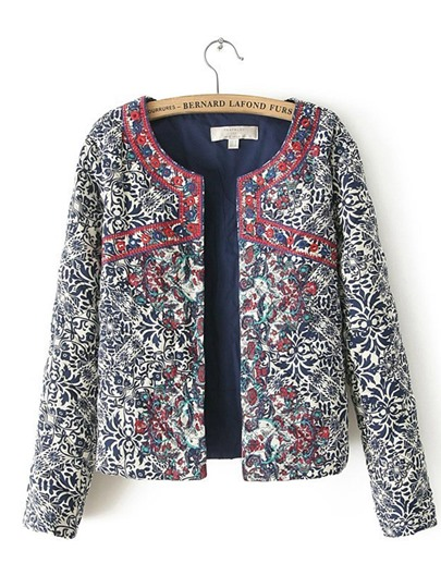 Mixed Print Open Front Women's Jacket
