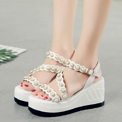 Beads Platform Wedge Shoes Casual Sandals
