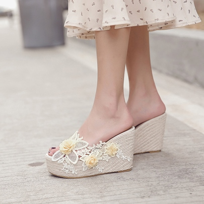 Sweet Lace Floral Wedge Slippers for Women