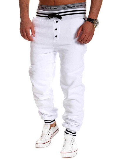 Lace-up Plain Slim Men's Casual Pants