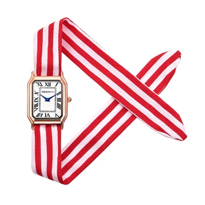 Exquisite Rectangle Dial Cloth Wristlet Lady Watch