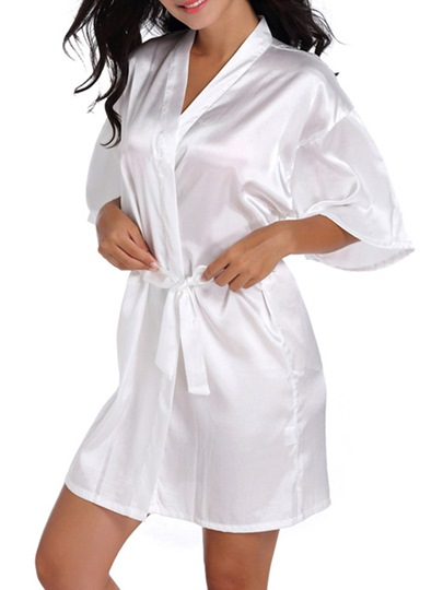 Lace-Up Loose Thin Print Simple Mid-Length Night Robe