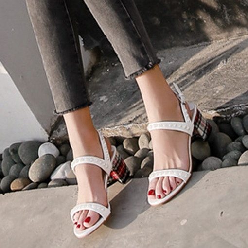 Beads Buckle Plain Heel Personality Sandals for Women
