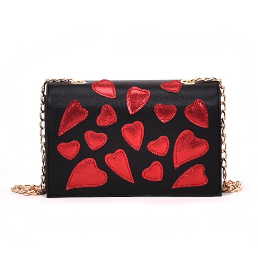 Fashion Red Heart Decorate Crossbody Bag