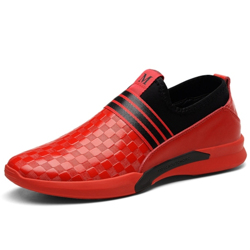 Checker Color Block Slip On Men's Chic Sneakers