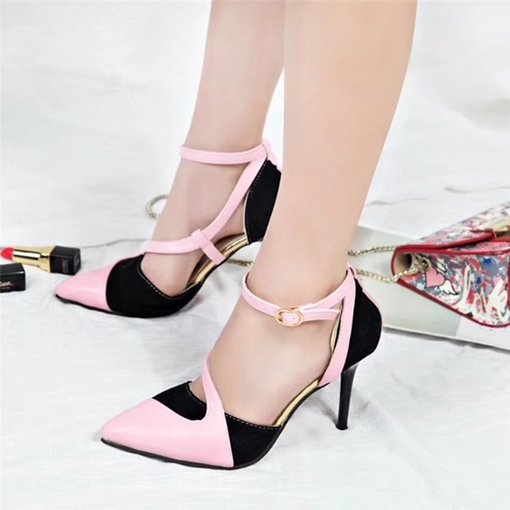 b6bf480ca344 Pointed Toe High Heels Color Block Pumps for Women