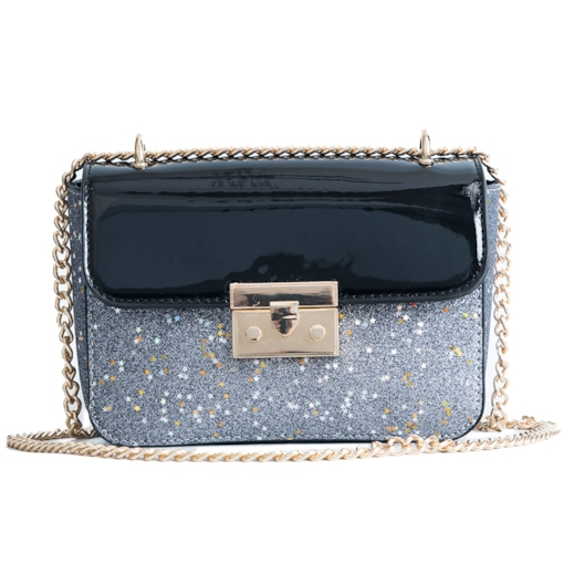 Glossy Color Block Sequins Crossbody Bag