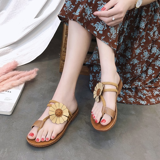 Floral Appliques Toe Ring Women's Slippers