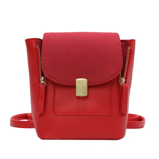 Trendy Color Block PU Mini Backpack
