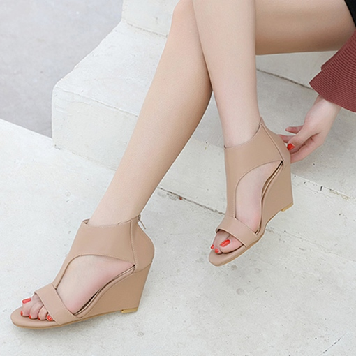 Open Toe Zipper Wedge Shoes for Women