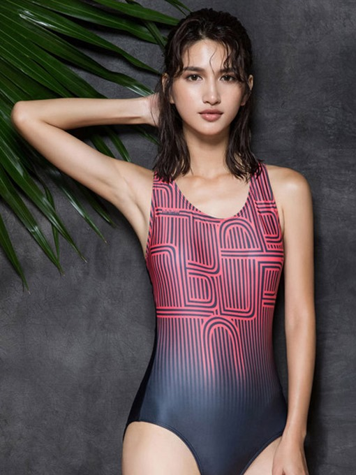 Athleisure Dye Striped Print Women's One Piece Swimsuit