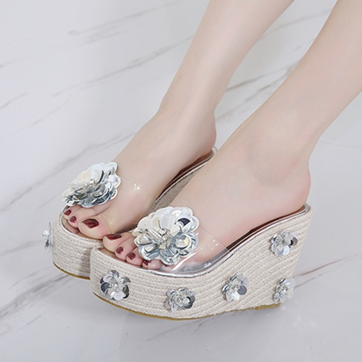 Metallic Shoes Appliques Floral Women's Slippers