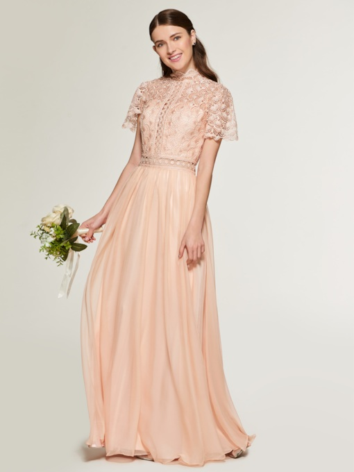 Short Sleeve Lace Top High Neck Bridesmaid Dress