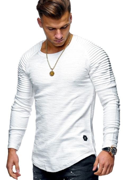 New O-Neck Basic Classic Tops Plain Long Sleeve Men's T-shirt