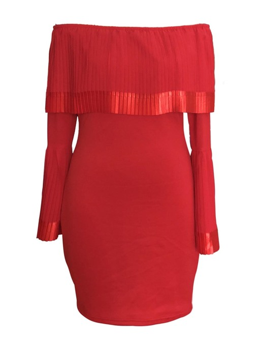 Red Off Shoulder Women's Party Dress