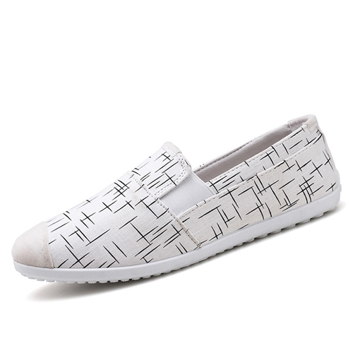 Canvas Print Line Slip On Men's Loafers