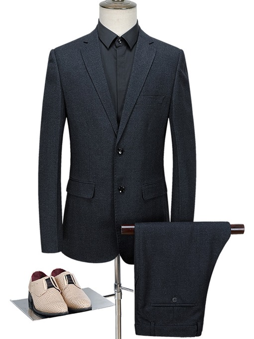 Solid Color Classic Plain Slim Men's Dress Suit