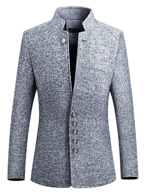 Single-Breasted Slim Plain Button Men's Blazer