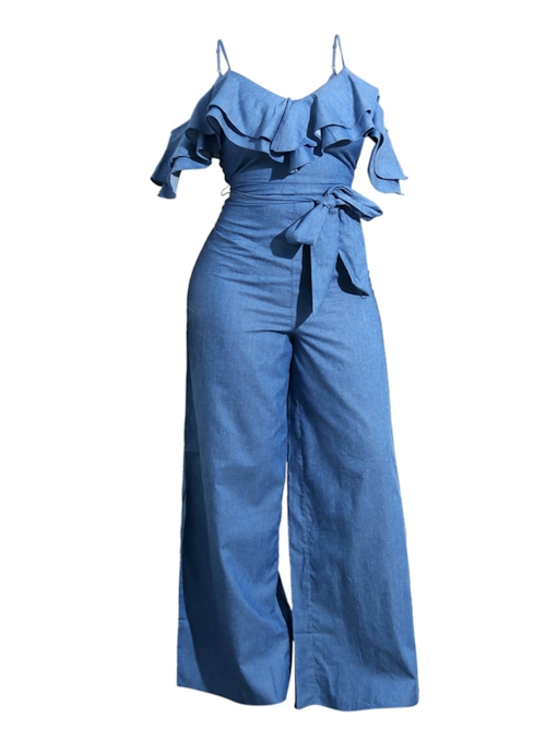 Belted Open Back Blue Sleeveless V Neck Ruffle Trim Women's Jumpsuit