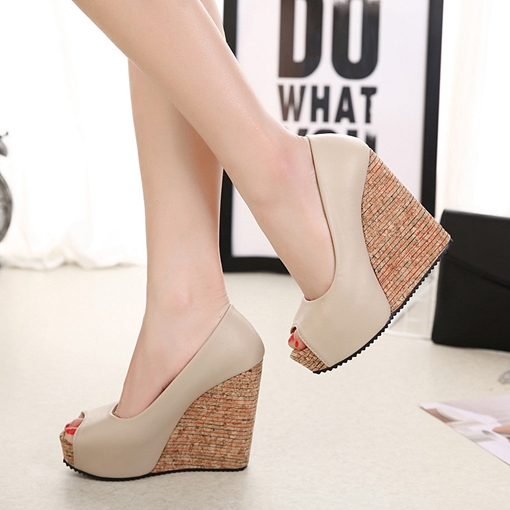 Peep Toe Slip On Plain Wedge Shoes for Women