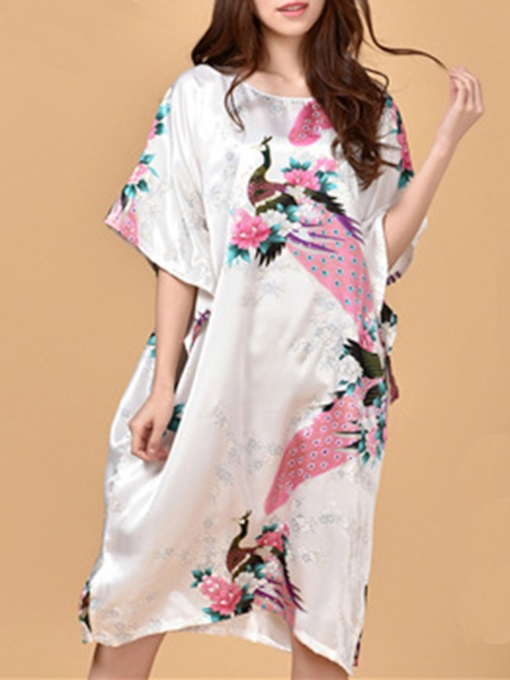 Batwing Sleeve Print Animal Floral Mid-Calf Night Dress
