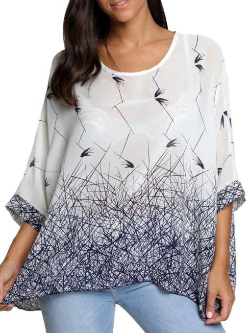 Loose Mixed Print Batwing Sleeve Women's Blouse