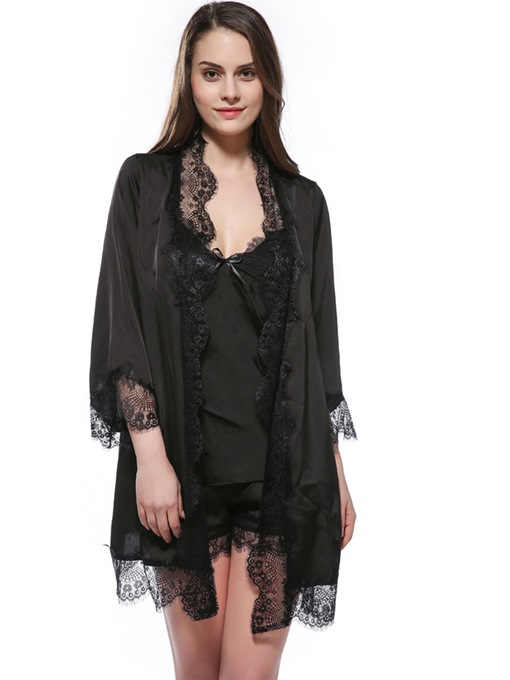 Lash Lace Batwing Thin Nine Points Sleeve Night Robe