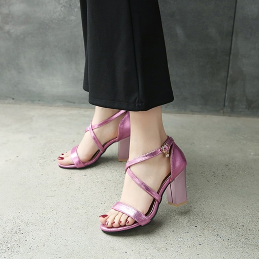 Open Toe Chunky Heel Pastle Pink Shoes for Women