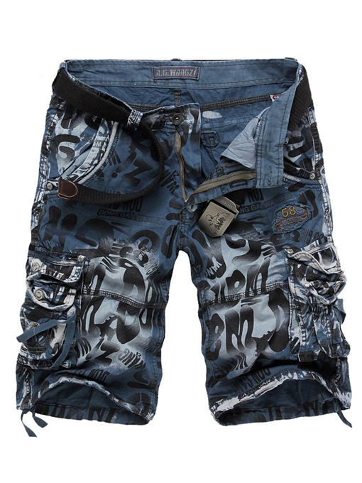 Worn Letter Print Men's Short Pants