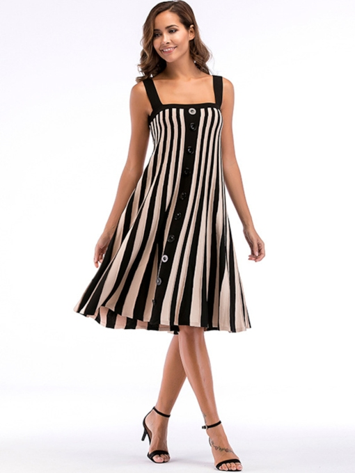 Strappy Striped Loose Women's Day Dress