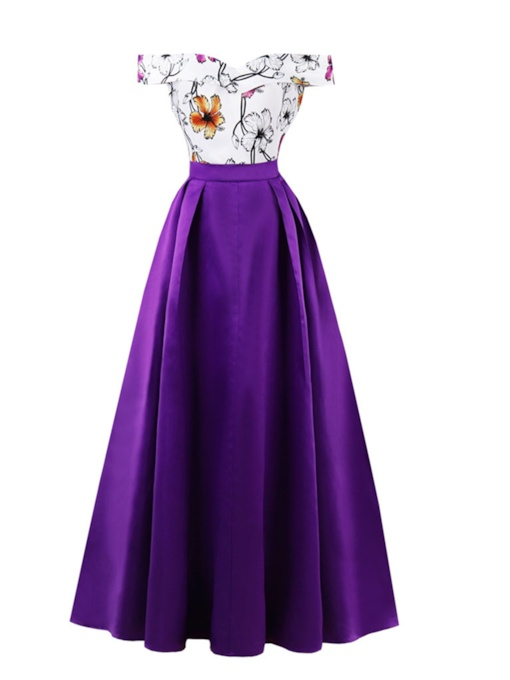 261219d952328 USD  62.99 · Off-the-Shoulder Printing A Line Evening Dress
