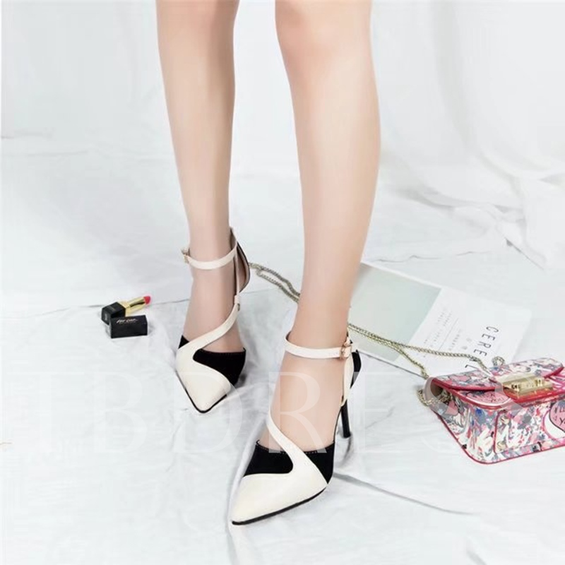 Pointed Toe High Heels Color Block Pumps for Women